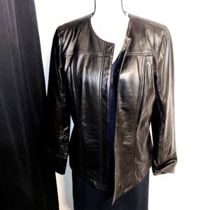 Macy's black leather button up jacket 😍